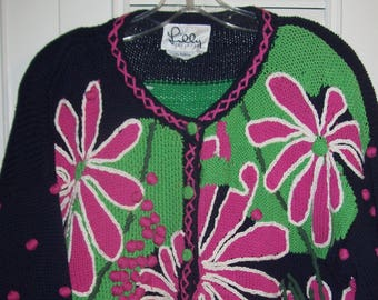 Sweater XL, Lilly PulitzerJUST REDUCED ! Vintage Cardigan Sweater, One of a Kind, Collectors LP  see details