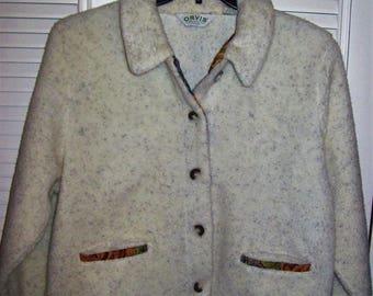 Orvis Jacket Medium, Orvis Fuzzy Wuzzy Oatmeal Casual Jacket! see details
