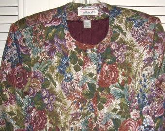 Vintage Talbot's Brocade Tapestry Floral Flower Jacket Rich Fall Colors Size 12 Petite Made in France