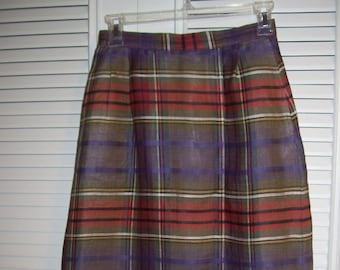 Vintage Authentic Indian Madras  Maxi Straight Skirt of Fall Colors Size 4