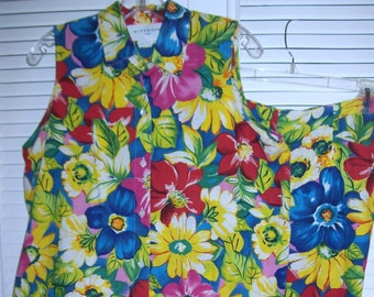 Pantsuit 12,Vintage Adrienne Vittadini Linen Two Piece Floral Summer Outstanding Outfit  12- 14