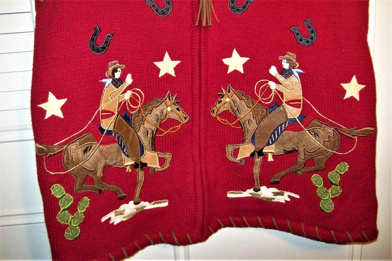 Vest Small Medium See Riders and Horses on the Bottom - see details Roping Cowboys Cowgirls Knitted  Vest Rodeo Horses