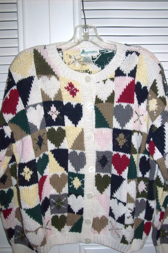 Cardigan Sweater Casino Handknit Checkered Hearts And Crests Casino Royale Resort Wear By Sportables Size Large