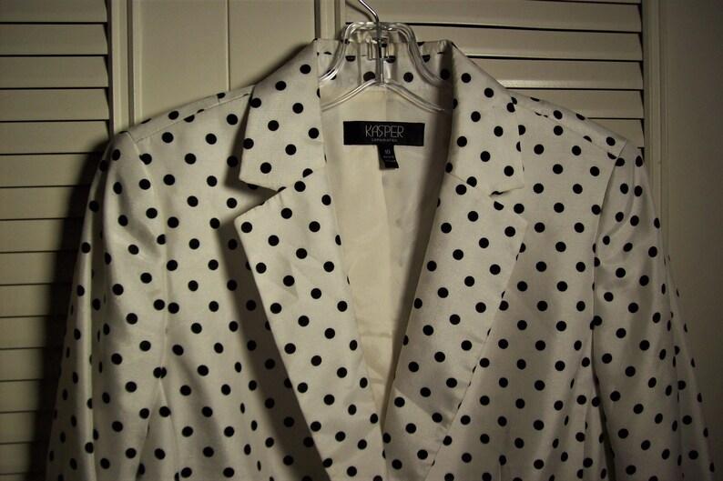 Crispy Cool Look in Vintage Kasper Blazer Summer Bright Polka Dot Blazer by Kasper Blazer 10 - see details