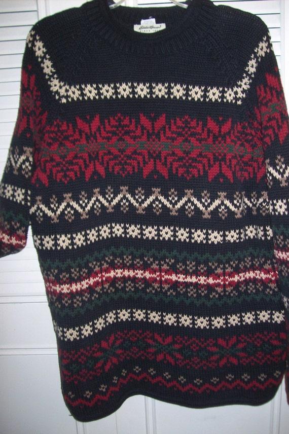 Sweater Xl Mens Vintage Eddie Bauer Winter Wonderland Etsy