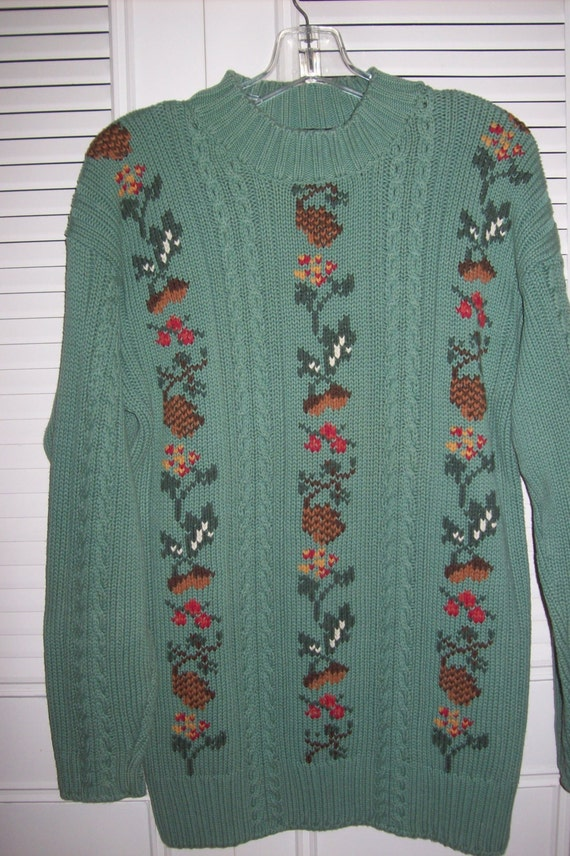 Vintage Eddie Bauer Cable Knitted Insets And Knitted Pullover Etsy