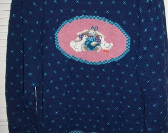 Vintage Northern Isles 3 X Plus Sweater Country Goose Bunny Rabbit Blue Fleurs Winter Background