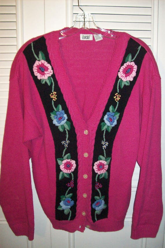 Cardigan Sweater Large Cotton And Ramie Embroidered Hot Pink Etsy
