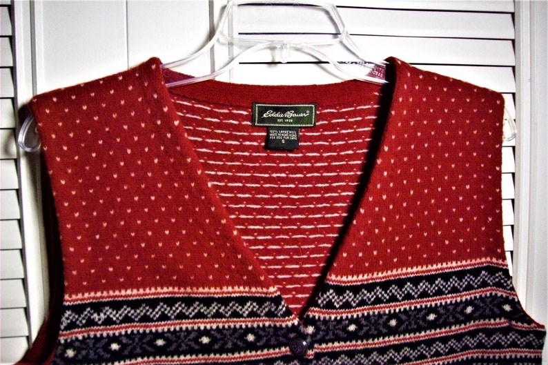 Another E B Winter Vintage Find Vest Small see details Eddie Bauer Wool Cutesome Sweater Vest