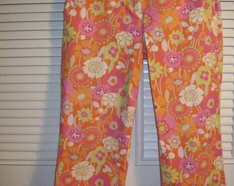 Vintage Sigrid Olsen Floral Spring Pink Cotton Capris Size 8 P