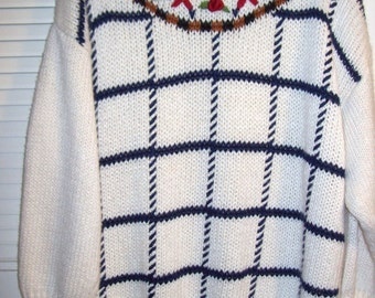 Vintage Backroad Blues Hand-Knitted Summer Pullover Sweater Size 24 W