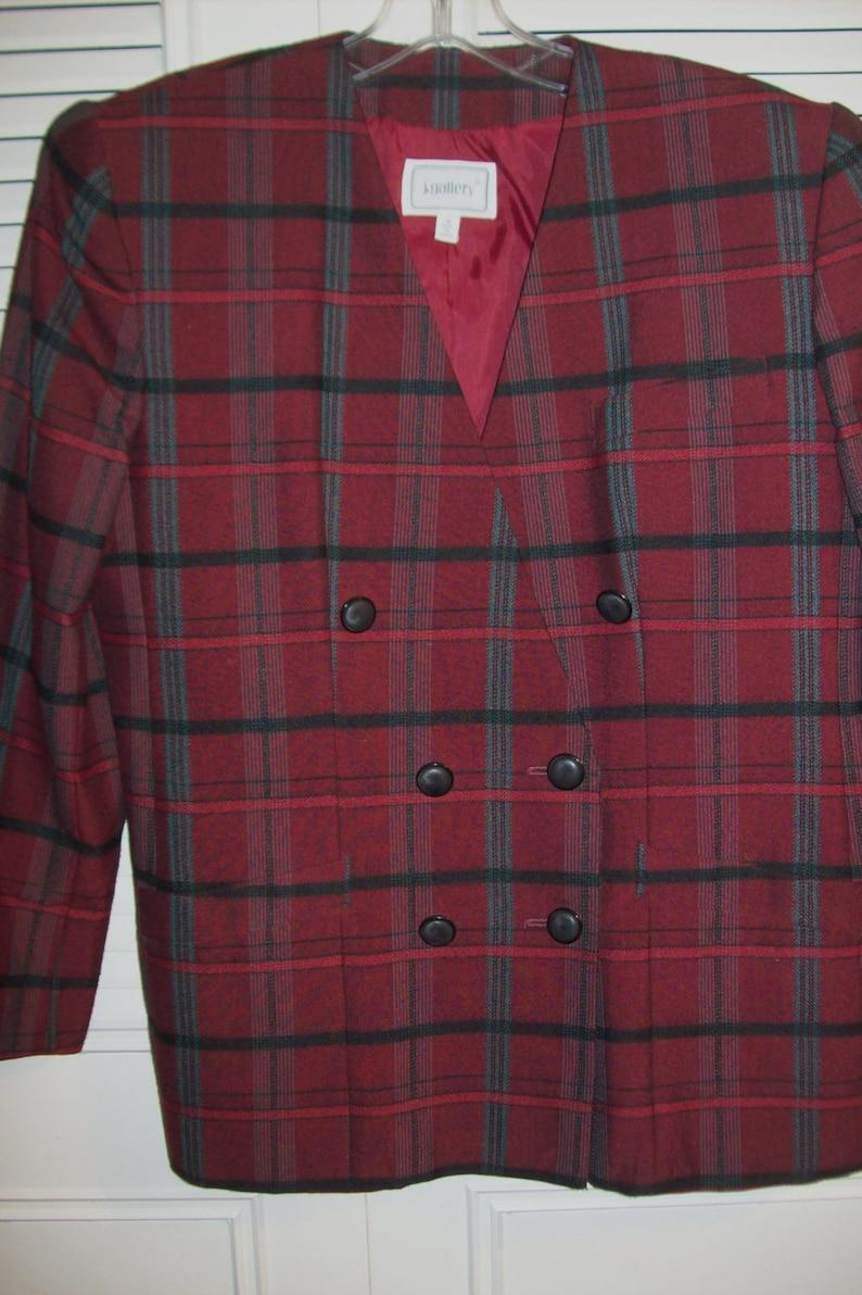 Blazer 8-10 J Gallery Plaid Outstanding Blazer  Jacket Versatile Vintage Find Career Find Size 8-10
