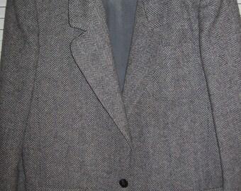 Blazer 12, Vintage Haggar Herringbone Tweed Blazer Jacket  Size 12  Classic Style - PERFECT