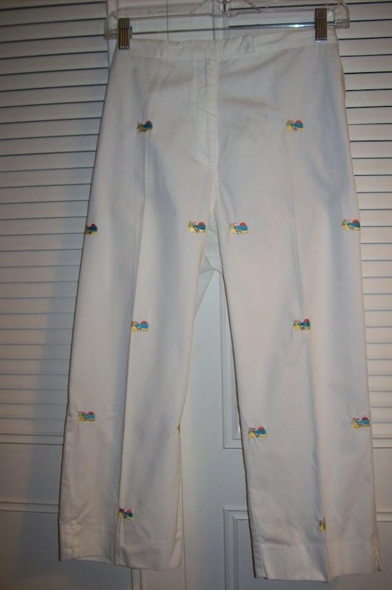 Capris, 12, 10,  White Cotton Capris, Embroidered