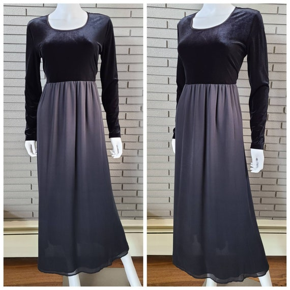 Vintage Laura Ashley Velour and Silk Black Dress … - image 1