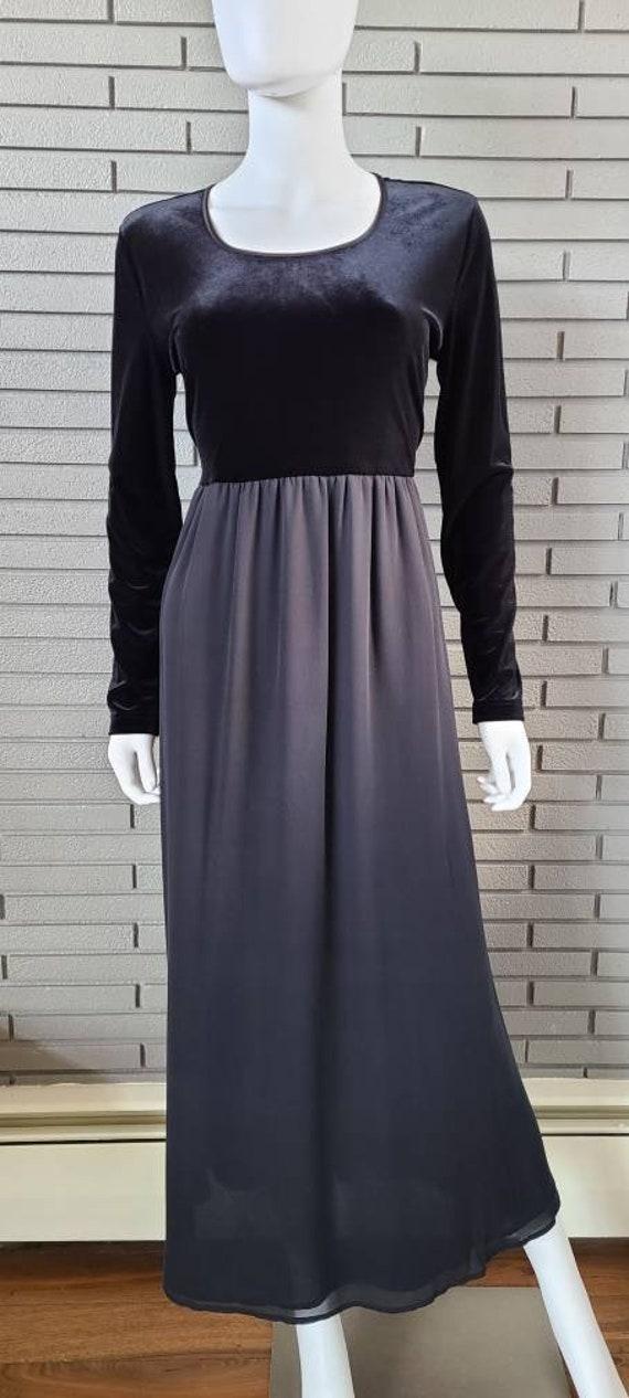 Vintage Laura Ashley Velour and Silk Black Dress … - image 2
