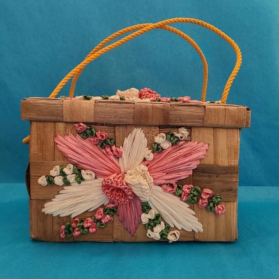 1960's Floral Basket Box Purse