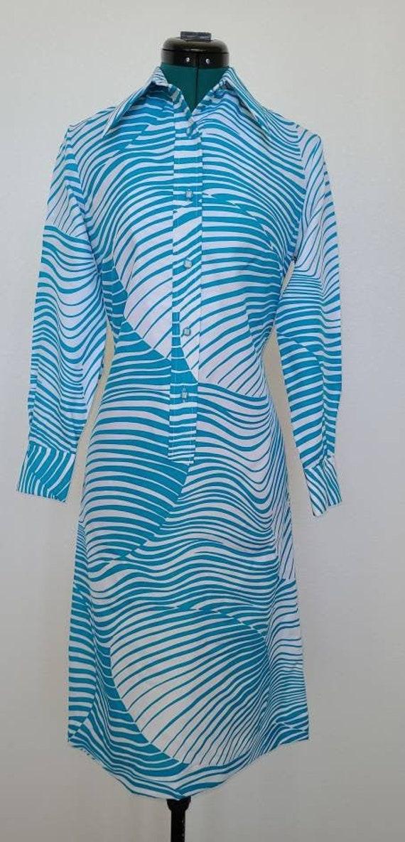 1970's Lanvin Abstract Shirt Dress