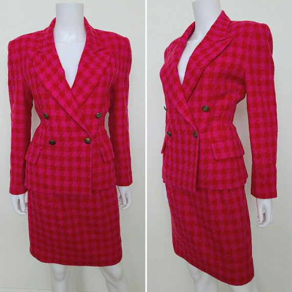 Vintage 1980's Houndstooth Suit | Gantos | Small