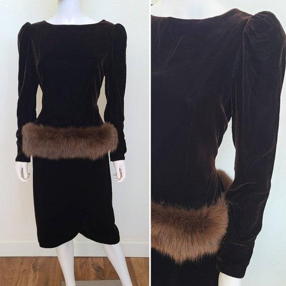 Vintage Chocolate Velvet Fur Evening Dress   Victo