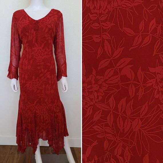 Vintage 1990's Red Floral Dress   Rayon   Volup