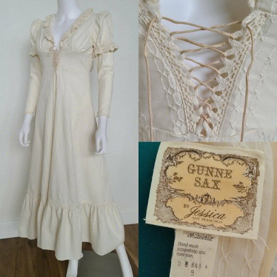 1970's Gunne Sax Prairie Dress | sz 5