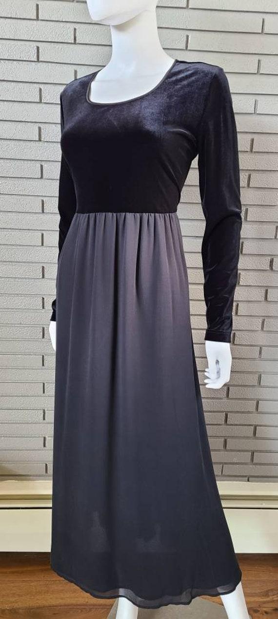 Vintage Laura Ashley Velour and Silk Black Dress … - image 3