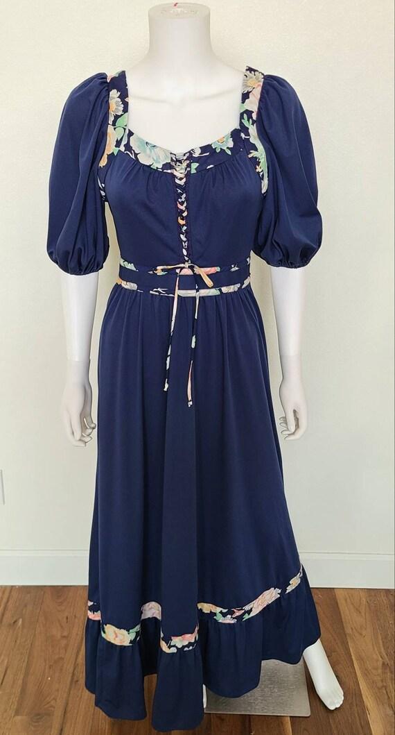 Vintage 1970's Navy Maxi Dress | Jody T California