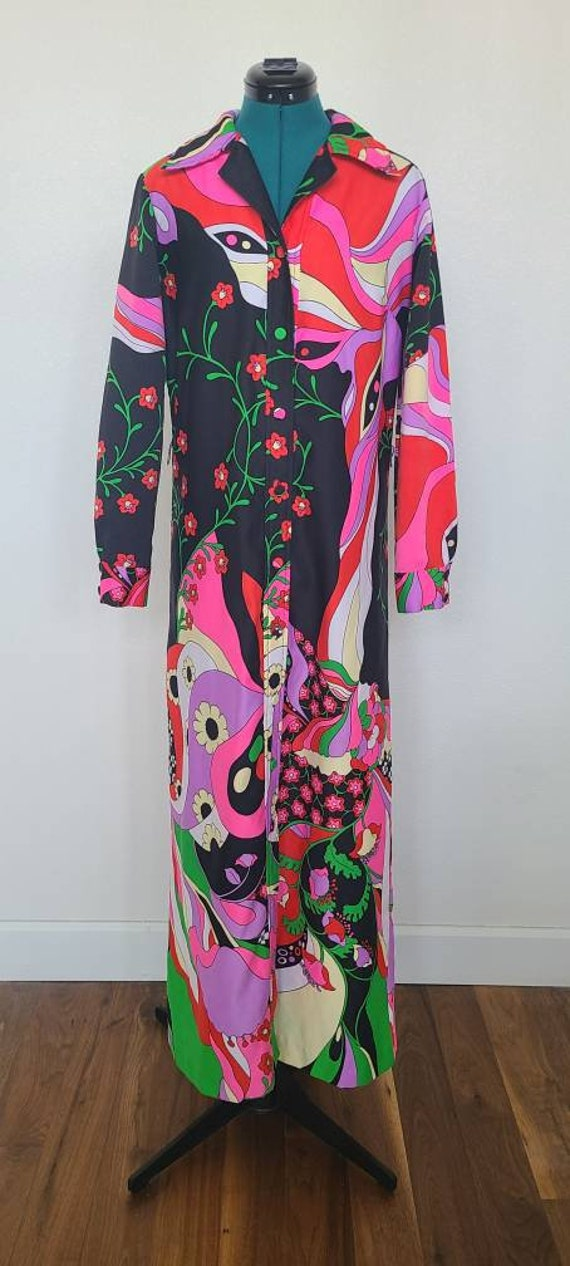 1970's Psychedelic Floral Maxi Dress