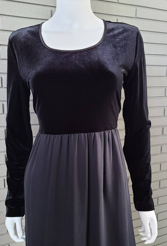 Vintage Laura Ashley Velour and Silk Black Dress … - image 6