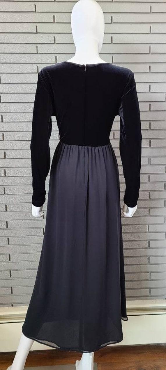 Vintage Laura Ashley Velour and Silk Black Dress … - image 5