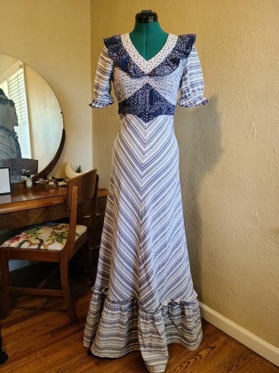 1970's Blue and White Prairie Dress