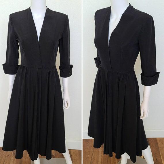 Vintage 40's-50's Three Quarter Cuffed Sleeve Dres