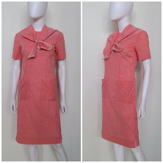 Vintage Red Gingham Shift Dress | Bust 37
