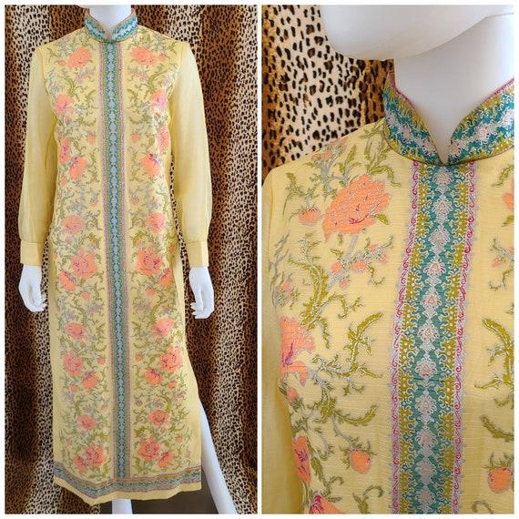 Vintage Alfred Shaheen Floral Maxi Dress   Waist 3