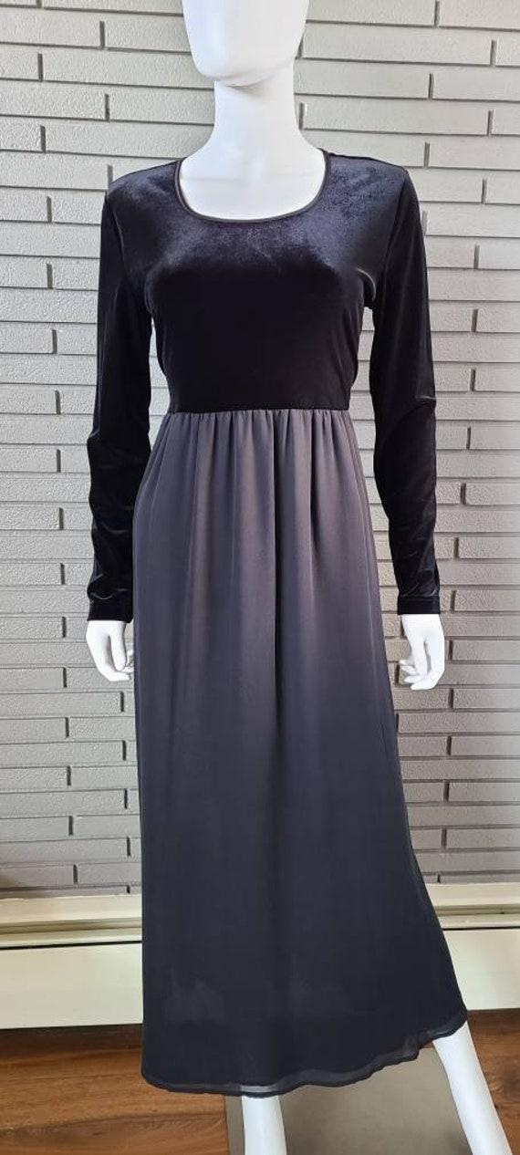 Vintage Laura Ashley Velour and Silk Black Dress … - image 7
