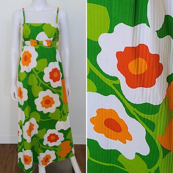 1970's MOD Malia of Honolulu Hawaiian Maxi Dress