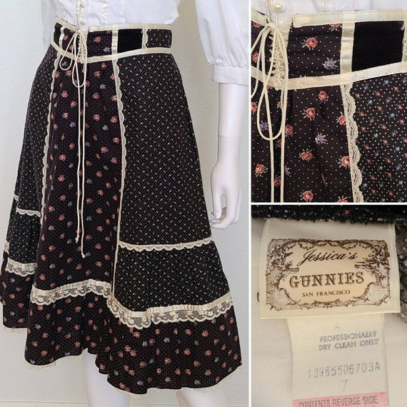 Vintage 70's Gunnie's Corset Style Lace up Skirt |