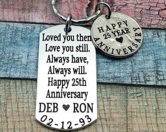 Anniversary Gift, Year anniversary, Gift For Husband, 25th Wedding anniversary, gift for men, 25 year wedding anniversary, custom key chain