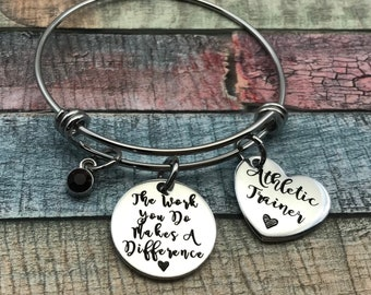 Athletic trainer gift, Thank You Gift, Thank you Bracelet, The work you do makes a difference, Gift for personal trainer, Teacher, Nurse