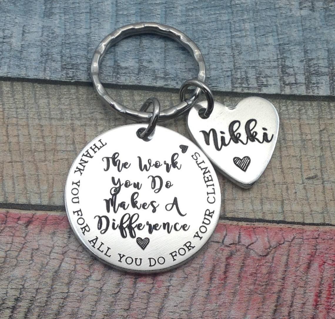 Stamped metal keychain.