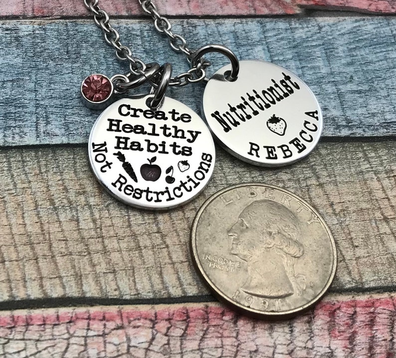 Nutritionist RD staff gift Dietitian graduation gift Registered Dietitian necklace RDN Day gift Nutritionist jewelry