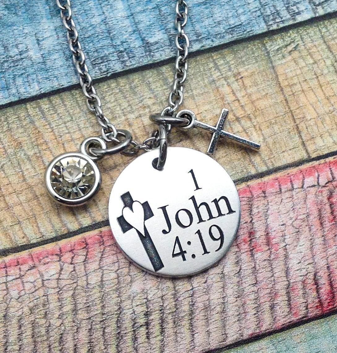 Bible Verse Necklace Spiritual Jewelry Communion Gift