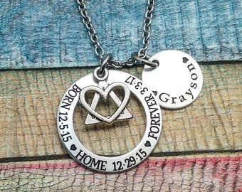 Adoption Jewelry, Adoption Gift, Adoption celebration, Adoption Necklace, Adoptive Mom, Foster Parent Gift, Engraved Necklace