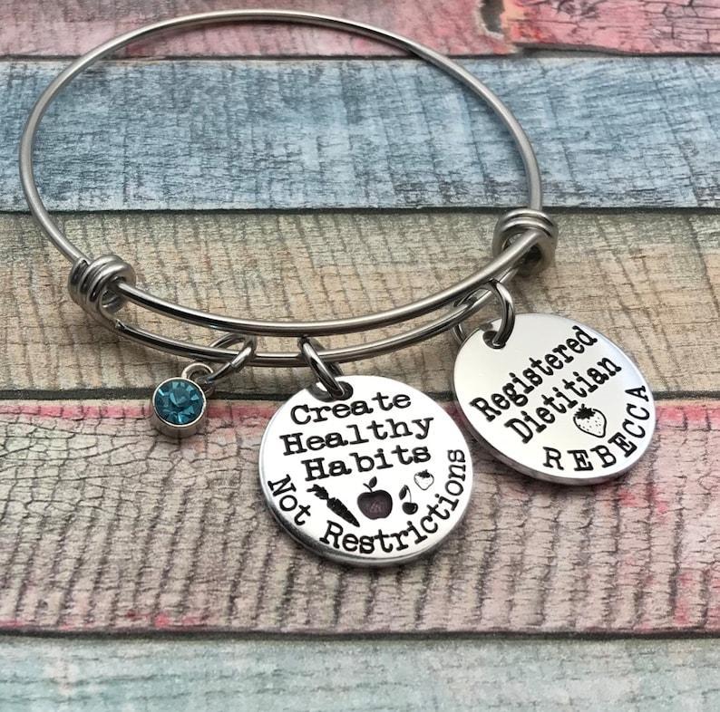 RDN staff gift Registered Dietitian Bracelet National RDN Day gift Dietitian jewelry Dietitian graduation gift Nutritionist Bracelet