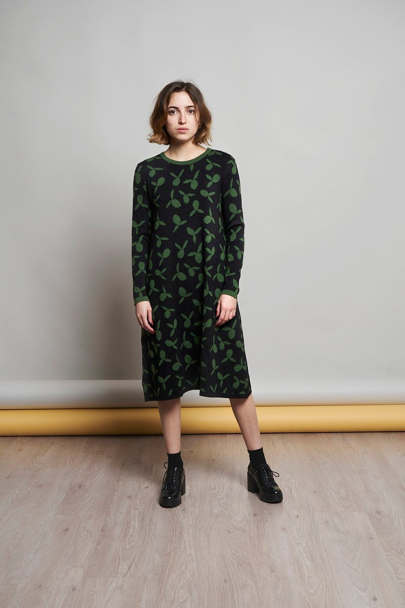 100% merino wool knit dress with green olives design and black image 0
