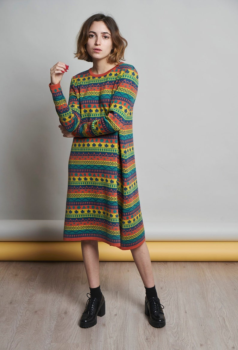 100% Merino wool knit dress with jacquard in blue green image 0