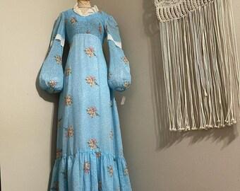 1970s Fruit and Floral Print Bishop Sleeve Prairie Midi Dress