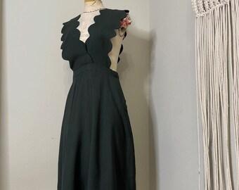 1930s 1940s Green Wool Scalloped Pinafore Dress