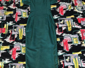 60s 70s emerald green full length wiggle dress